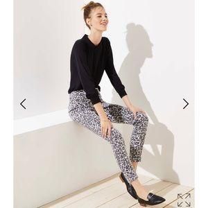Loft curvy leopard stretch skinny jeans 29 8